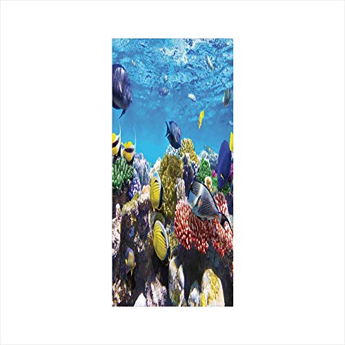 Decorative Window Film,No Glue Frosted Privacy Film,Stained Glass Door Film,Tropical Corals Fish School Natural Life in Shallow Underwater Marine Seascape Image,for Home & Office,23.6In. by 35.4In Mul ()