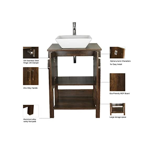 "eclife 24"" Bathroom Vanity Sink Combo Brown Cabinet Modern Stand Pedestal W/Square White Ceramic Vessel Sink, Chrome Bathroom Solid Brass Faucet and Pop Up Drain Combo, W/Mirror (A07 B12C) - ❤WATER SAVE: 1.5 GPM faucet aerator help to save 30% water; 3/8'' Connector Hot/Cold Water supply hose; 23-5/8"" Long water supply lines; Durable Chrome faucet; Pop up drain. ❤ECO-FRIENDLY: MDF eco-friendly material used to make vanity more durable and sturdy; 15mm Thickness and smooth surface board, easy to clean and wear-resistance. ❤EASY to INSTALL: Need to be self-assemble, delicate design make it easy to assemble; Small body includes maximized storage, more convenient and flexible for you to use. - bathroom-vanities, bathroom-fixtures-hardware, bathroom - 418Xh5FeQRL. SS570  -"