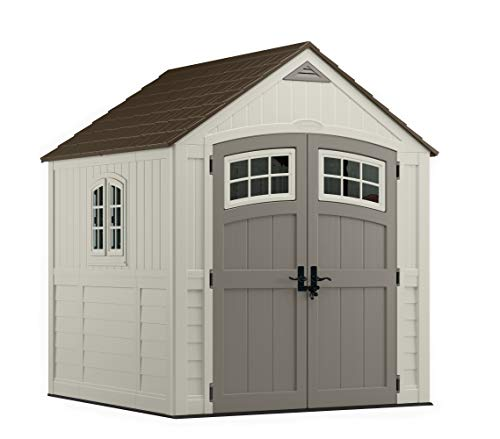Suncast 7' x 7' Cascade Storage Shed - Outdoor Storage for Backyard Tools and Accessories - All-Weather Resin Material, Transom Windows and Shingle Style Roof (Jack In The Box Walk In Hours)