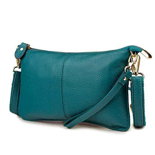 Artwell Women Genuine Leather Clutch Handbag Crossbody Shoulder/Wristlet Purse for Party Wedding Shopping (Peacock Blue)