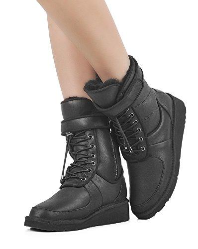 Snow Leather Patent Black Boot Stylish up Lace AU amp;MU Winter 4A0ZEqxwTn