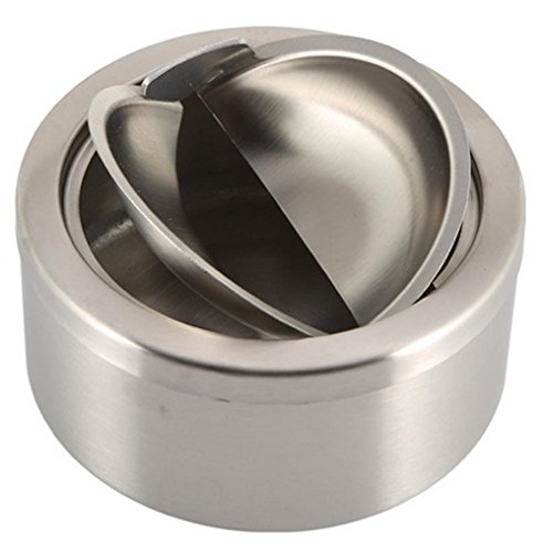 Ashtray Cover - 1pc Stainless Steel Cigarette Lidded Ashtray Silver Round Windproof Ashtray with Cover Portable Outdoor Accessories