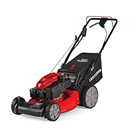 Craftsman M275 159cc 21-Inch 3-in-1 High-Wheeled  Self-Propelled FWD Gas Powered  Lawn Mower with Bagger 58 POWERFUL 159CC OHV GAS ENGINE: Powerful gas engine with 21-inch cutting deck to trim grass in one quick pass. 3-IN-1 CAPABILITIES: Unit has side discharge, rear discharge, and mulching capabilities. FRONT WHEEL DRIVE AND SELF-PROPELLED: Move around your yard with less effort at the propulsion speed of your choice.