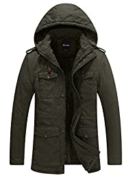 Wantdo Men's Fleece Outwear Thick Parka Coat with Removable Hood