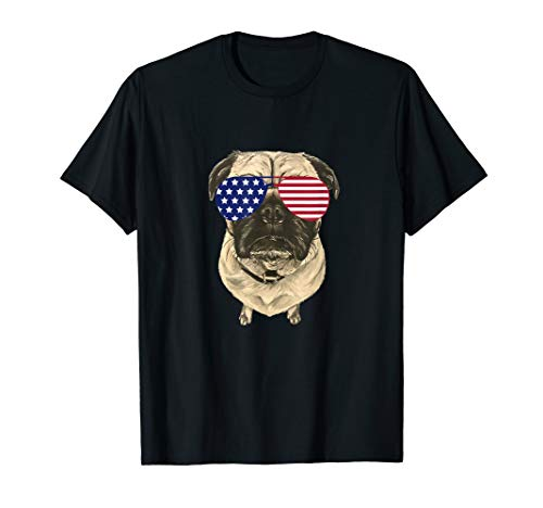 July 4th Pug Shirt, Patriotic Pug Shirt, Pug with Glasses