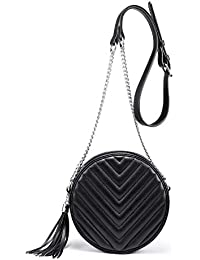 Crossbody Bags for Women Round Purse Quilted purse, Faux Leather,with Tassel