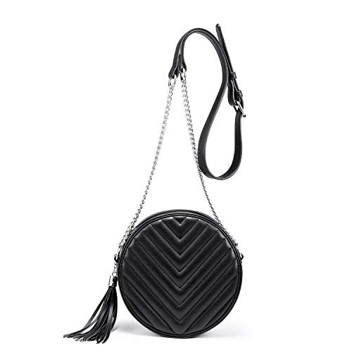 - Small Crossbody Bags for Women Round Purse Quilted Purse, Faux Leather, With Tassel and Adjustable Metal Chain Strap