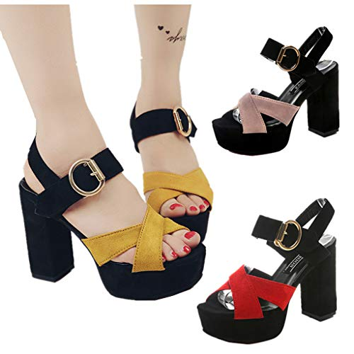 Hauts Chaussures Sandales Talons Poisson Traverser De Bouche Magiyard À Ceinture Décontractées Femmes Jaune Boucle qIxBgg