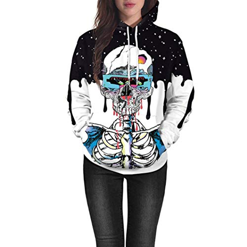 Big Promotion! Women Lovers Scary Halloween Skull 3D Print Party Hoodie Sweatshirt Daoroka Ladies Long Sleeve Jumper Pullover Tops Fashion Autumn Winter Warm Causal Loose Blouse -