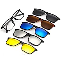 Life Needs A Surprise | TR90 Five-in-one Magnetic Glasses | 5 Sunglasses Clip on Glasses for Night Driving