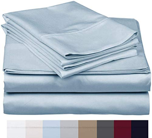 The Bishop Cotton 100% Egyptian Cotton 800 Thread Count 4 PC Solid Pattern Bed Sheet Set Italian Finish True Luxury Hotel Collection Fits Up to 16 Inches Deep Pocket (Full, Sky Blue).