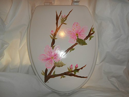 Hand Painted Toilet Seat - Hand painted cherry blossoms on a standard white toilet seat.