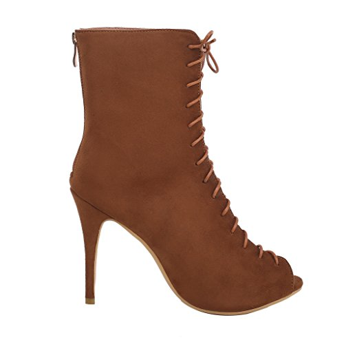 Fasshion Boots Cawork Toe Brown Calaier Women Sexy Zipper Peep Girls 12CM Stiletto 64xSvIqw