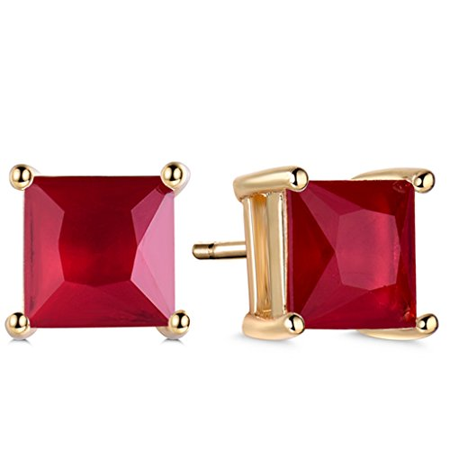 (GULICX Yellow Gold Tone favorite Ruby Color Red CZ Intriguing Stud Earrings)