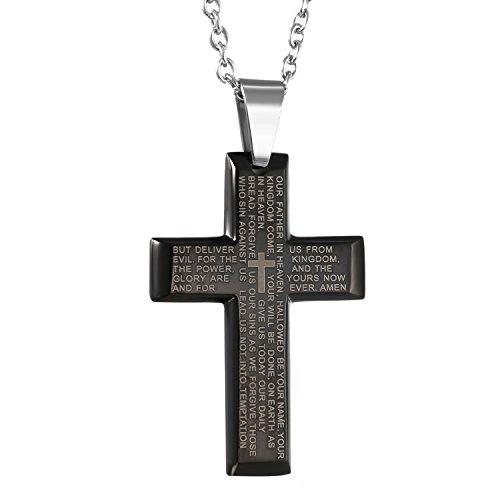 fcf23dad8ae3 De bajo costo oidea Acero Inoxidable Biblia Oración Negro Cruz colgante con  collar de plata 55