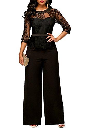 PrettySoul Womens Sexy 3/4 Sleeve Round Neck Lace Peplum Ruffle Wide Leg Long Pants Jumpsuit Romper Black, Medium
