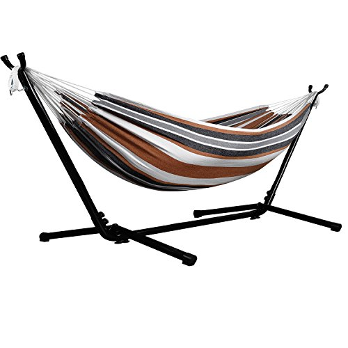 Afranker Double Hammock with Space-Saving Steel Stand Desert Moon