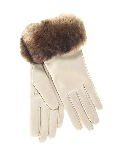 Fratelli Orsini Women's Italian Orylag Rabbit Fur Cuff Cashmere Lined Winter Leather Gloves Size 7 1/2 Color Cream