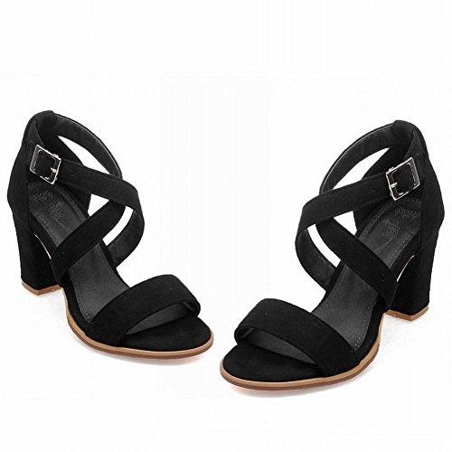 Carolbar Womens Charm Evening Party Sexy Fashion Buckle Open Toe Chunky High Heel Dress Sandals Black DYksu5qN