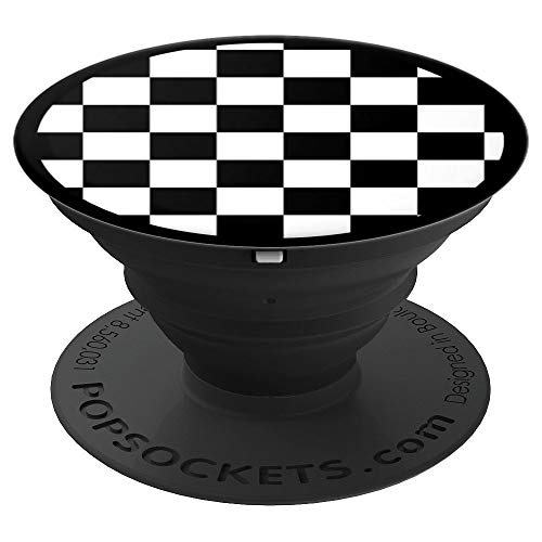 Checker Circle - Black and White Checkered Pop Up Cellphone Holder,Checker - PopSockets Grip and Stand for Phones and Tablets