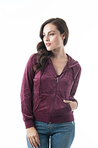 (Khanomak Women's Velvet Velour Long Sleeve Drawstring Hoodie Front Pockets Sweater Jacket (Small, Burgundy))