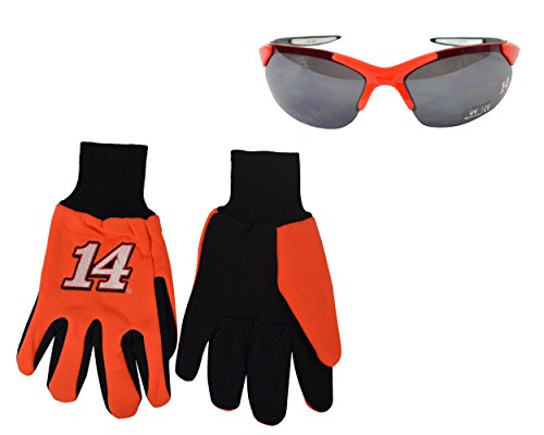 Official NASCAR Fan Shop Authentic Utility Work Gloves and Matching Polycarbonate Sunglass Set (Tony Stewart - Jimmie Sunglasses