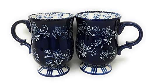 (Temp-tations S/2 Pedestal Coffee Mugs, TWO Cafe Mug Set, 16 oz Each Cup (Floral Lace)