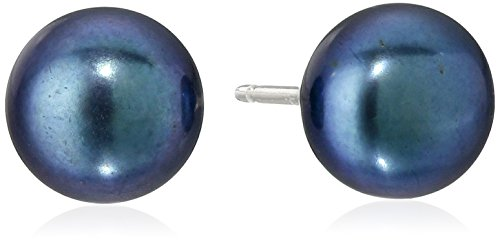 (Sterling Silver Black Freshwater Cultured Pearl Button Stud Earrings (6.5-7mm)