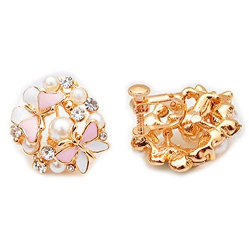 Latigerf Fashion Jewelry Gold Plated Women's Butterfly Rhinestone Screw Back Non-Pierced Clip on Earring Clips for non Pierced Ears for Girl - Clip Screw Rhinestone Earrings