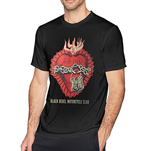 GAWERLON Men's Black Rebel Motorcycle Club Poster 2003 Concert Cotton T-Shirts Black 5XL with Short Sleeve