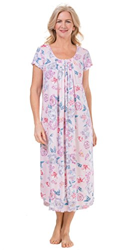 Miss Elaine Plus Nightgowns Flutter Sleeve Long Knit Nightgown In Floral Garden (Pink/Floral, (Miss Elaine Satin Nightgown)