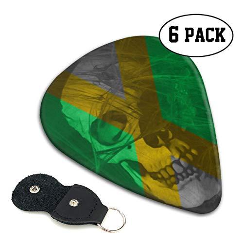 (Irene Merritt Guitar Picks- Jamaican Flag Skull Guitar Picks With Leather Cases Bag £¨6 Pack£)