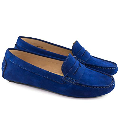 Driving in Leather Driver Nobuck Loafer Fast Brazil Made USA Style Blue Women's Naples Club t8twXqU