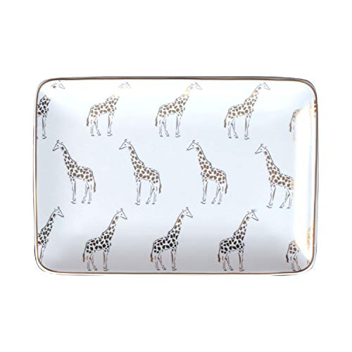 Giraffe Pattern Ceramic Plate Ring Holder Bracelets Plate Dessert Fruit Dish Ceramic Jewelry Crafts Trinket Rectangle Tray with Golden Edge Holder Rings Bracelets Earrings Trinket Tray for Women Girls