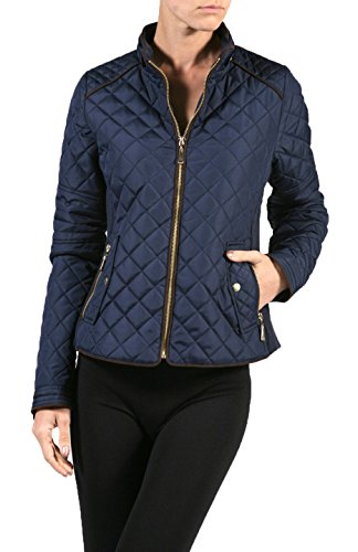2LUV Plus Women's Plus Size Quilted Long Sleeve Zip Front Jacket – 1X Plus, Navy
