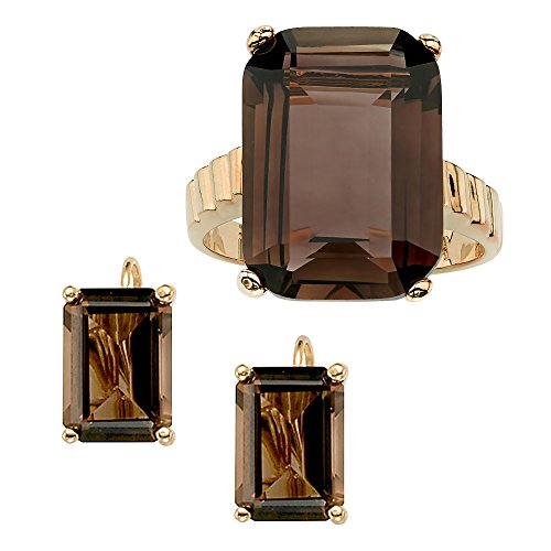 [Emerald-Cut Smoky Quartz 14k Gold-Plated Ring and Earrings Set Size 10] (Emerald Cut Smoky Quartz Ring)