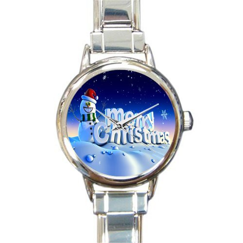Personalized Watch Snowman with Marry Christmas Quotes Round Italian Charm stainless steel Watch