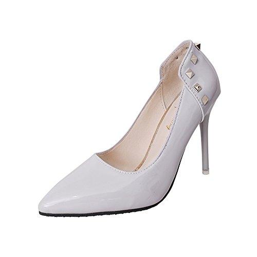 Mariée S en Mariage Pompes De Cuir 10 Haut Cm Femmes Chaussures Sexy Pointy 5 Talons Talons Rivets Wanson De Grises Mode q6PRgtn