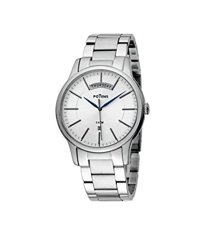 Potens 40-2585-0-1, Reloj de hombre, acero inoxidable y calendario: Amazon.es: Relojes