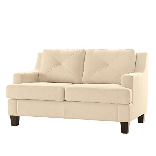 Modern Linen Upholstered Button Tufted Back Cushions Loveseat with Espresso Finish Legs - Includes Modhaus Living Pen (White)