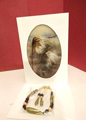 - Irish jewelry set - Connemara marble bracelet, earrings (gold filled earwires), handmade gift card
