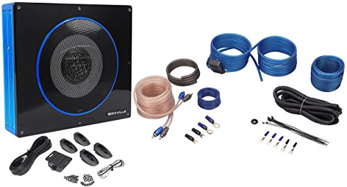"Rockville RW8CA 8"" 600 Watt Under-Seat Slim Amplified Car Subwoofer +Wire Kit"