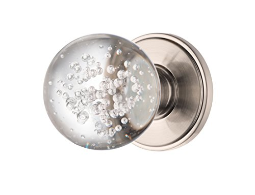 Decor Living, AMG and Enchante Accessories Bubble Glass Crystal Door Knobs, Passage Function for Hall and Closet, Ceres Collection, Satin Nickel
