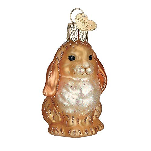 Old World Christmas Baby Bunny Tan Glass Blown Ornament -