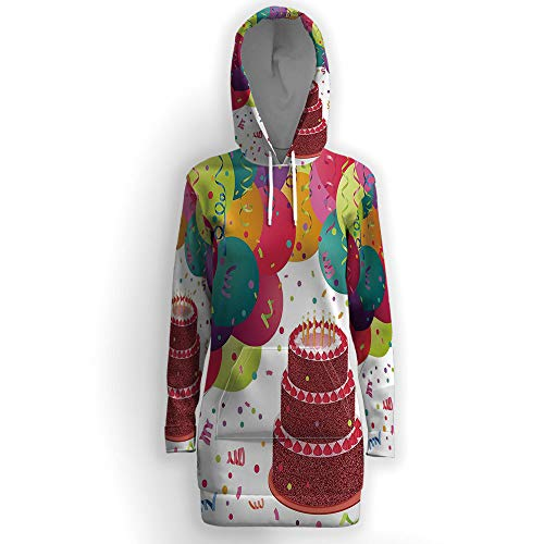 iPrint Women Causal Hoodie Maxi Dress Solid, Birthday Decorations,Pullover Sweater Hood