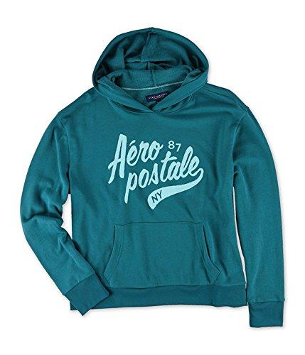 Aeropostale Womens Puff Script NY Hoodie Sweatshirt, Green, ()