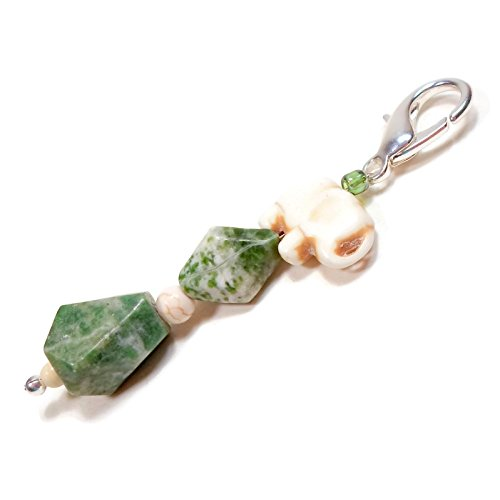 Beaded Key Fob Purse Charm Dangle Scissor Keeper Green Stone White Elephant 3.25 (Plated Purse Charms)