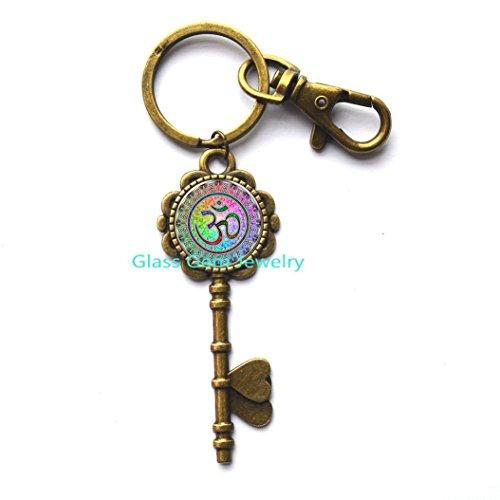 HotSaleRainbowYogaOMKey Key RingKey KeychainFashionRoundEthnicSilverPlatedColorfulMuranoGlassJewelry.XY25