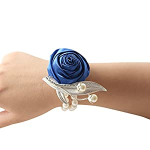 DESTINLEE Wedding Party Ribbon Bracelet-Bridesmaid Bridal Rose Flowers Wrist Corsage Silk Hand Flower Wristband with Faux Pearls for Wedding Prom Party 50