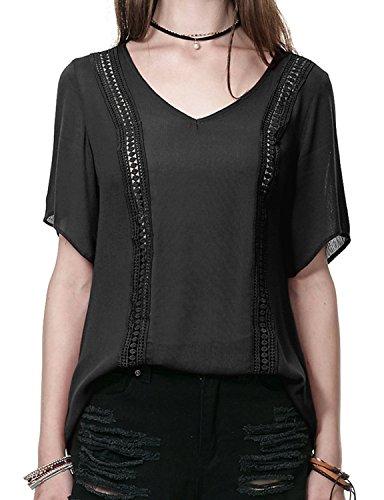 Regna X Boho For Women's Elegant Gorgeous Loose Fit Black 3XL Plus Maternity Tall Chiffon Blouse Top